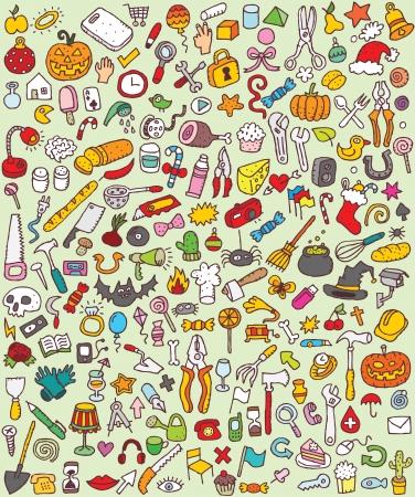 medico dibujo: Grandes iconos del Doodle Set colecci�n de numerosas peque�as ilustraciones dibujadas a mano vi�eta n � 8