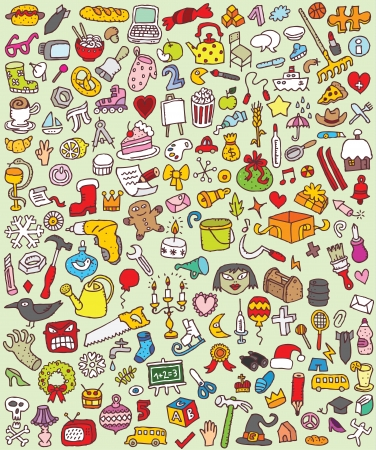 Big Doodle Icons Set   collection of numerous small hand-drawn illustrations  vignette    No  7  Vector