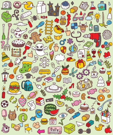Big Doodle Icons Set   collection of numerous small hand-drawn illustrations  vignette    No  6  Vector