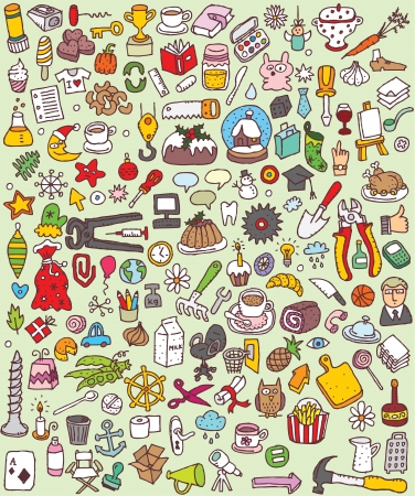 big icons: Big Doodle Icons Set   collection of numerous small hand-drawn illustrations  vignette    No  5  Illustration