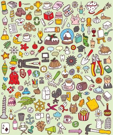 Big Doodle Icons Set Sammlung von vielen kleinen Hand gezeichnete Illustrationen Vignette Nr. 5