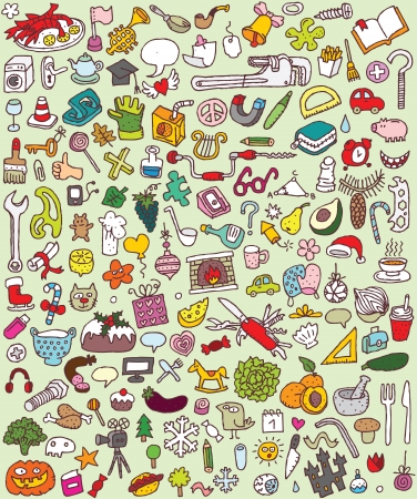 Big Doodle Icons Set   collection of numerous small hand-drawn illustrations  vignette    No  4  Vector