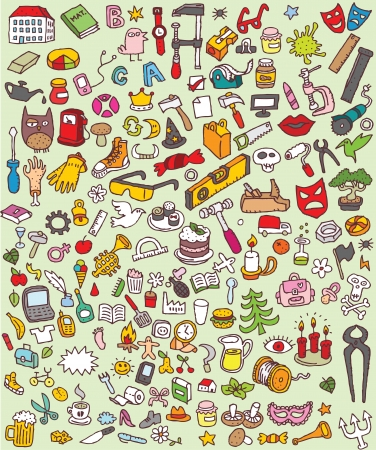 Big Doodle Icons Set   collection of numerous small hand-drawn illustrations  vignette    No  3  Stock Vector - 17142509
