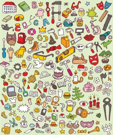 Grote iconen Doodle Set verzameling van een groot aantal kleine handgetekende illustraties vignet nr. 3
