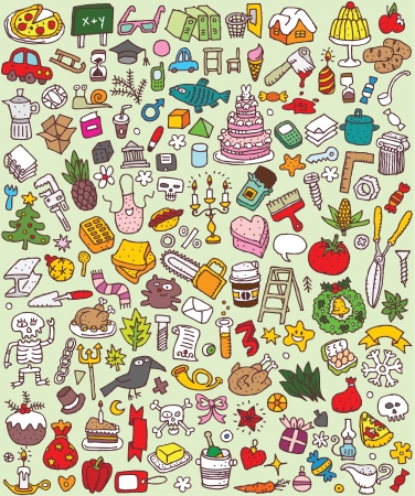 doodle art: Big Doodle Icons Set   collection of numerous small hand-drawn illustrations  vignette    No  2  Illustration