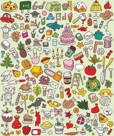 Big Doodle Icons Set Sammlung von vielen kleinen Hand gezeichnete Illustrationen Vignette Nr. 2