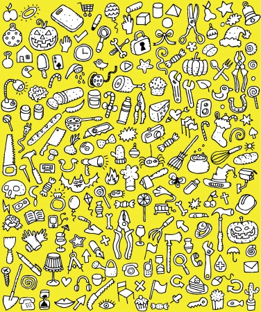 Big Doodle Icons Set   collection of numerous small hand-drawn illustrations  vignette  in black and white  No  1  Vector