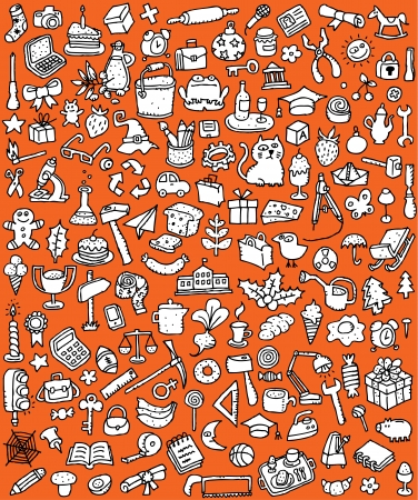 Big Doodle Icons Set   collection of numerous small hand-drawn illustrations  vignette  in black and white  No  8  向量圖像