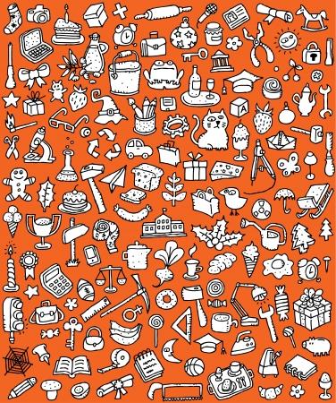 Big Doodle Icons Set verzameling van een groot aantal kleine handgetekende illustraties vignet in zwart-wit nr. 8 Stock Illustratie