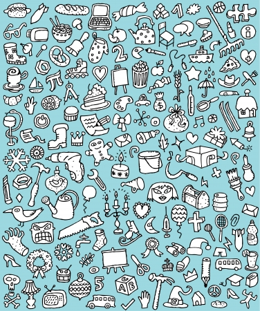 Big Doodle Icons Set   collection of numerous small hand-drawn illustrations  vignette  in black and white  No  7  向量圖像