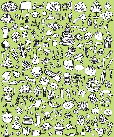 Big Doodle Icons Set   collection of numerous small hand-drawn illustrations  vignette  in black and white  No 6 Stock Vector - 17142605