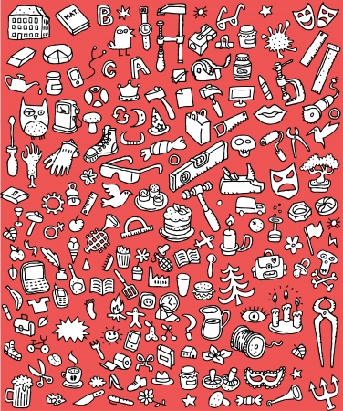 groups of objects: Big Doodle Icons Set   collection of numerous small hand-drawn illustrations  vignette  in black and white  No  5  Illustration