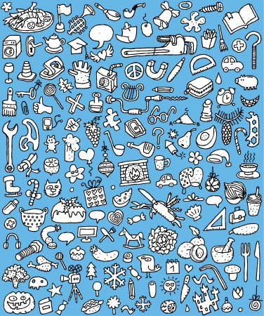 Big Doodle Icons Set   collection of numerous small hand-drawn illustrations  vignette  in black and white  No  4 Stock Vector - 17142521