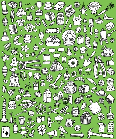 Big Doodle Icons Set   collection of numerous small hand-drawn illustrations  vignette  in black and white  No  3