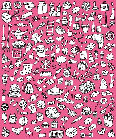 Big Doodle Icons Set   collection of numerous small hand-drawn illustrations  vignette  in black and white  No  2  Vector