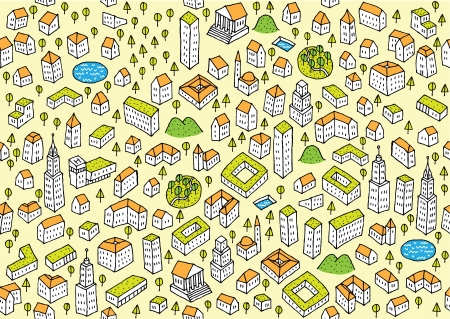Architecture Set  Seamless pattern and collection of small architectural icons Stock Vector - 17142609