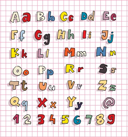 Hand drawn Alphabet ABC with shadows and colors Stock Vector - 17188072