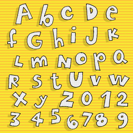alphabet kids: Childish hand drawn Alphabet with dots pattern on orange background  Illustration