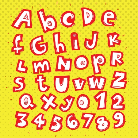 Hand Drawn Trendy alphabet ABC on dots pattern  Vector