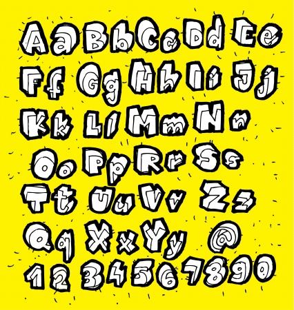 黄色の背景に白トレンディな手描画フォント
