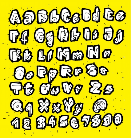 White Trendy Hand Drawn Fonts on yellow background