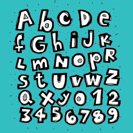 Hand Drawn Trendy Alphabet on blue background  Vector