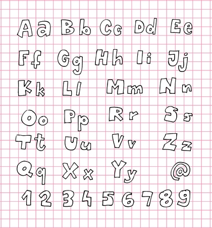 Hand Drawn Alphabet ABC with white fill Stock Vector - 17188084