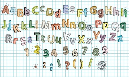 Hand drawn coloured Alphabet ABC