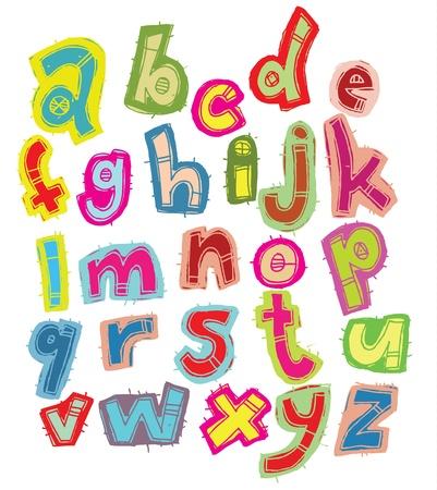 Disegnato a mano Font Trendy a colori su sfondo bianco