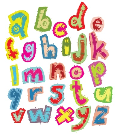 graffiti alphabet: Hand drawn Trendy Font in Colors on White background  Illustration
