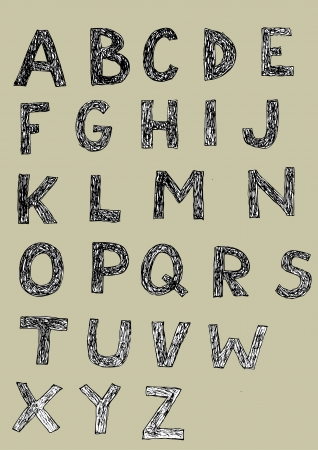 Woodcut Font  set of hand drawn capital letters  black and white   Vector