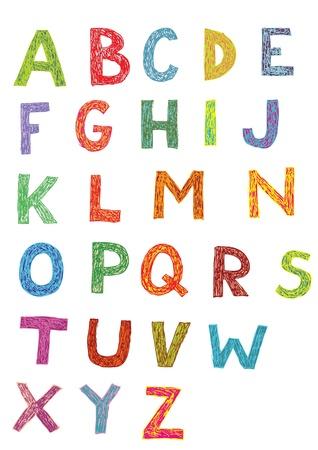 Houtsnede Lettertype: set van de hand getekende hoofdletters (kleuren)