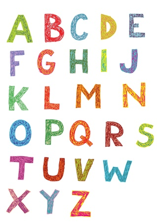 alphabet kids: Woodcut Font: set of hand drawn capital letters (colors)