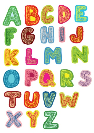 alphabet kids: Hand Drawn Woodcut Trendy Font in Colors on White background