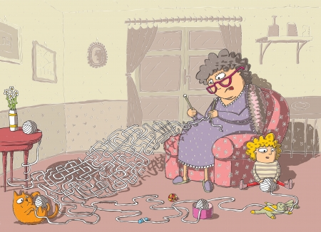 Grandma Crochet Maze Game  hand drawing with background on separate layer  Task  which wool-ball leads to grandma  Solution  cat Vector
