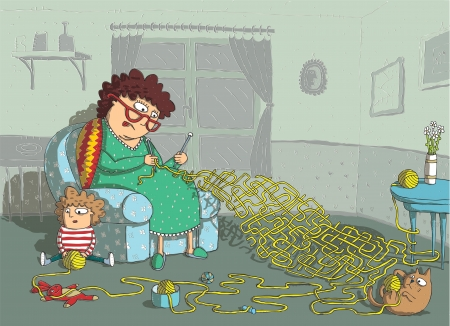 mind games: Grandma Crochet Maze Game  hand drawing with background on separate layer  Task  which wool-ball leads to grandma  Solution  cat Illustration