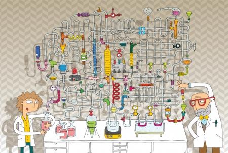 Laboratorium Maze Game in kleuren met geïsoleerde lagen Task Zoek de juiste weg Solution is in verborgen laag Stock Illustratie