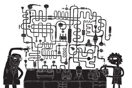 Laboratory Maze Game in schwarz und wei� mit isolierten Schichten Aufgabe den richtigen Weg finden Solution ist in versteckten Schicht Illustration