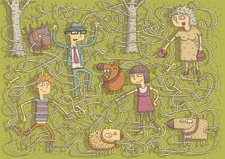 peeing: Walking Dogs Maze Game for children with separated isolated layers  Task  Connect dogs with owners  Solution  lady and puffy, man and peeing, boy and barking, girl and smiling dog   Illustration