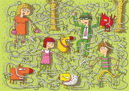 Wandelen Honden in Park Maze Game voor kinderen met gescheiden geïsoleerde lagen Task Sluit honden met eigenaren Solution lady-wit, man-rood, jongen-geel, meisje-bruin Stock Illustratie
