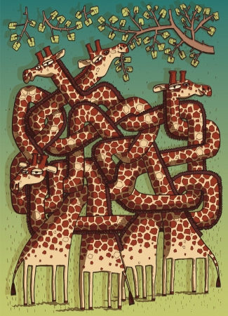 mind games: Giraffes Maze Game for children on seperate layers  Task  Which giraffe is eating leafes  Answer  Second one   Illustration