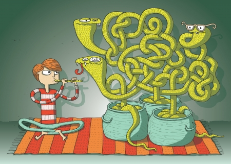 Cobra Snakes Maze Game hand drawn illustration for children  Task  which vessel belongs to hypnotic snake  Vector