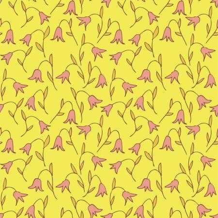 r�p�titif: Seamless floral (r�p�tition) sur fond jaune. Illustration