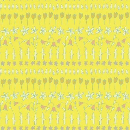 Floral Seamless Strips Pattern  repetitive  on yellow background Stock Vector - 20184979