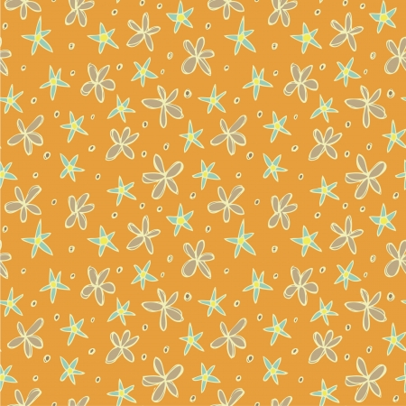 Different Flowers Seamless Pattern  repetitive  on orange background   Vector