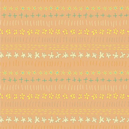 Floral Seamless Strip Pattern  repetitive  on yellow background  Illustration is in eps8 vector mode   Vector