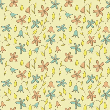 Floral Field Seamless Pattern  repetitive  on beige background Stock Vector - 20184885
