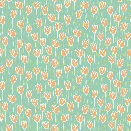 r�p�titif: Champ de tulipe Seamless r�p�titif sur fond bleu