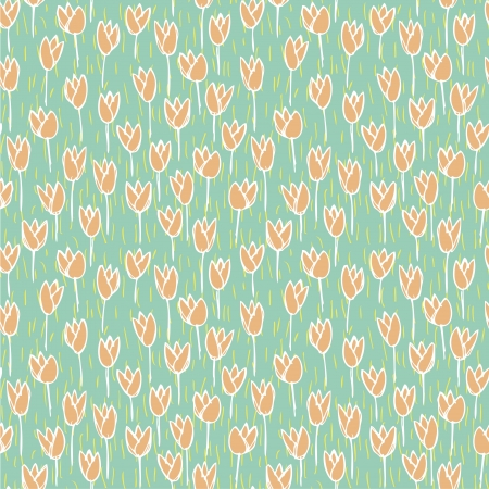 repetitive: Tulip Field Seamless Pattern  repetitive  on blue background  Illustration