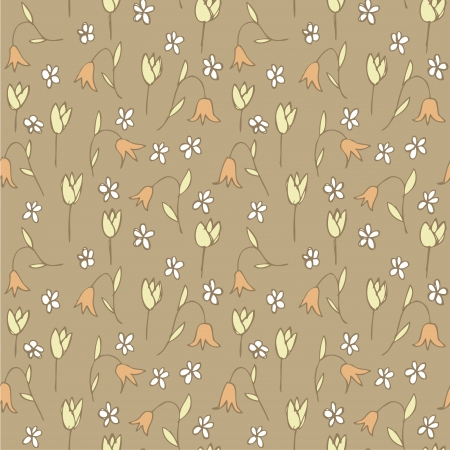Floral Field Seamless Pattern  repetitive  on grey background   Stock Vector - 20184875